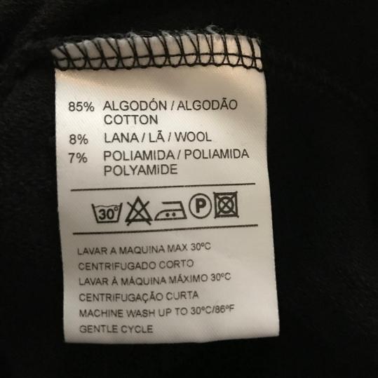 85% Cotton, 8% wool, 7% polyamide